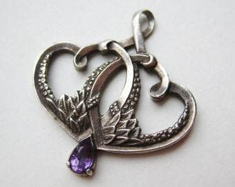 Vintage Sterling Silver Scottish Gaelic Two Hearts Love Sweetheart Amethyst Necklace Pendant