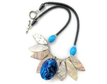 sea shell necklace, blue abalone shell pendant, paua shells, hematite beads, quartz beads, nautical, unique, beach wedding