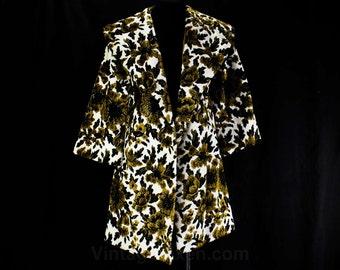 Size 14 Tapestry Coat - Medium Large 1960s Wrap Front - Black & Tan Carpet Bag Style Velveteen Jacket - Fall - Autumn - Bust 40.5 - 46076