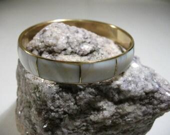 Vintage Mother of Pearl and Brass Bangle Bracelet