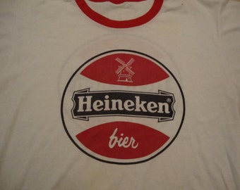 Vintage 80's Heineken Beer Soft Thin White with red ringer punk rock T Shirt Adult Size M