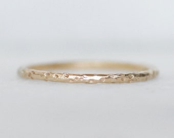 Sparkling Sand Ring - Skinny 1.3mm Gold Band in 14k or 18k Gold - Thin Gold Stacking Ring - Eco-Friendly Recycled Gold