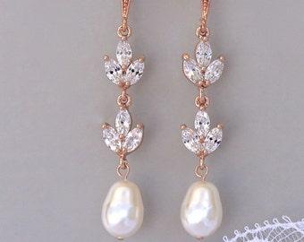 Rose Gold Earrings, Rose Gold Bridal Earrings, CRose Gold Jewelry, Pearl Drop Earrings, HAYLEY RGP