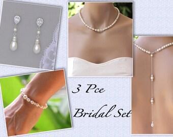 Pearl Wedding Jewelry SET, Pearl Bridal SET, Earrings Necklace & Bracelet Set, Backdrop Necklace SET,  Clip on Earrings option,
