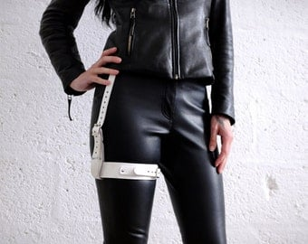 Real Leather Single Thigh Harness - Distressed White - steampunk - burning man - apocalypse, Please read Description for size