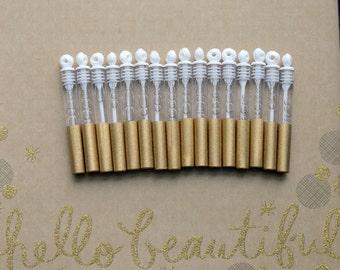 50 Gold Wedding Favors, Wedding Send Off, Wedding Bubble Send Off, Gold Glitter Favors, Customizable Favors, Glam Wedding