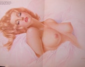 1969 January Birthday Playboy Nude Vargas Foldout Nudie Alberto Vargas Girlie