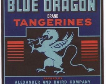 1940s Blue Dragon Vintage Florida Tangerine Citrus Crate Label Alexander Baird