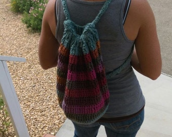 Crochet Backpack - Teal, Gold, Olive, Brown, Rust and Maroon