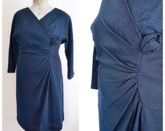 1960s Electric blue lurex jersey dress / 60s sparkly dress - XXXL