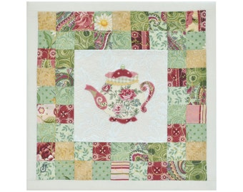 Textile art Earl Grey Decorative patchwork wall hanging artwork Teapot Lace Quilt Green Yellow Pink Ivory
