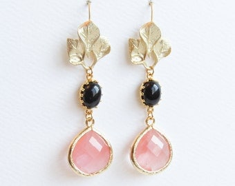 Pink and Black Earrings | Pink and Black Drop Earrings | Gold Pink and Black Drop Earrings | Holiday Earrings