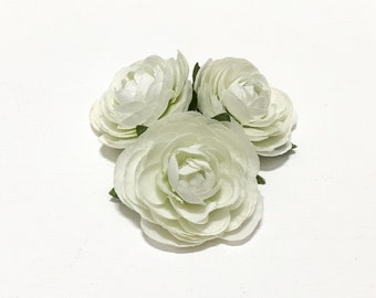 Artificial Flowers - 3 Small CREAM WHITE  Ranunculus Flowers - ALMOST 2 Inches - Silk Flowers, Flower Crown