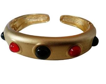 Valentino Style Hinged Cuff Bracelet Matte Gold tone