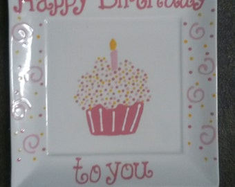 Ready to ship! Happy Birthday Hand painted Ceramic Plate (Pink)