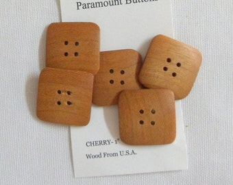 "5 Square Buttons Handmade Wood Buttons Cherry Wood  1"" Square Buttons Wood from North America"