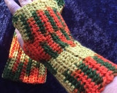 Green and orange arm warmers fingerless gloves
