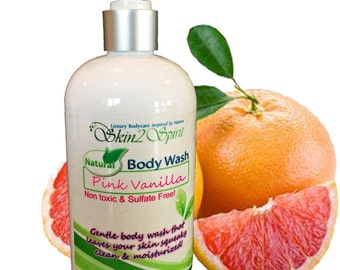 PINK VANILLA Organic Body Wash - No Synthetic Fragrance Oils - Real Fruit - No Sodium Laurel Sulfate - Non Toxic - 8 oz
