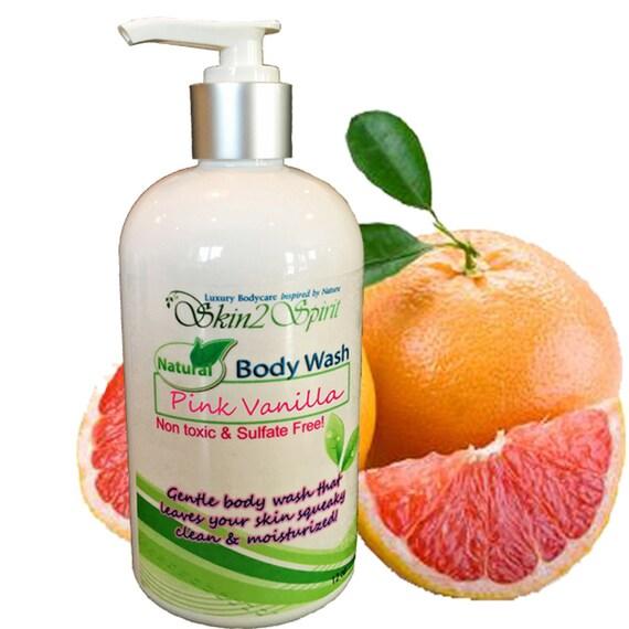 PINK VANILLA Organic Body Wash - No Synthetic Fragrance Oils - Real Fruit - No Sodium Laurel Sulfate - Non Toxic - 8 oz