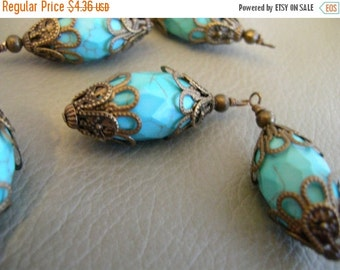 sale BD78 Vintage Style Wire wrapped capped dangle charms Dyed bright Blue Turquoise facetted barrel Beads with mixed metal caps 1 pc