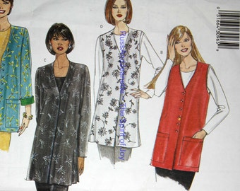 SIze 20 22 24 Butterick 6412 Easy Jacket Vest Long Below Hip Fashion  Womens Misses Uncut Sew Sewing Pattern