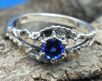 Blue Sapphire, Mythological Stone Protector Ring,  September Birthstone, hand crafted Recycled Sterling Silver, handmade fantasy, fairy, elf