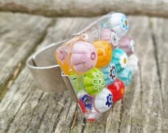 Original Millefiori Ring. Fused Glass Ring. Handmade Millefiori Ring. Tack Fusing Ring. Flower Ring. Flower Glass Ring. Murano Ring.
