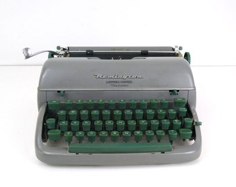 Vintage Remington Typewriter - Letter Riter DeLuxe - green and gray working with case