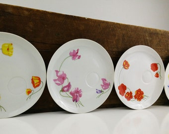 Spring Floral Fine China Plates, Set of 4 / Enesco Japan 1976