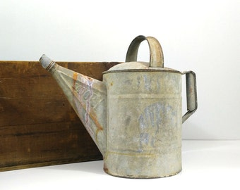 Vintage Savory galvanized watering can / Garden sprinkling can / Industrial decor