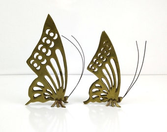 Brass Butterfly Figurines / Pair of Standing Butterflies / Vintage Brass Decor
