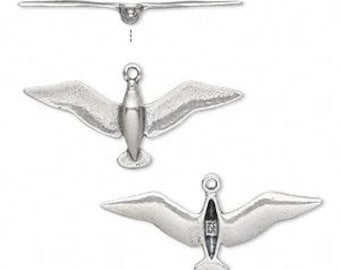 Sterling Silver Bird in Flight Charm / Pendant - Dove, Bird, Open Wings