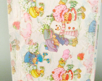 Vintage Strawberry Shortcake Christmas Snowman Wrapping Paper