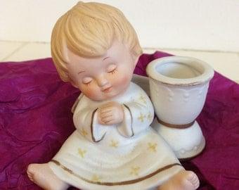 vintage 1979 Enesco sleeping angel cherub porcelain candle holder