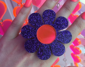 Flower power purple glitter ring (made to order)