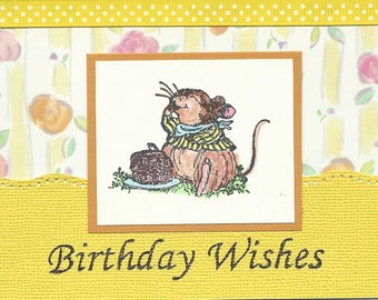 Birthday Card - Mouse with Cake done in Yellow