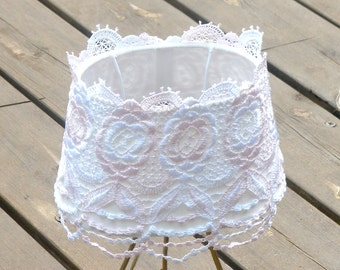 Shabby chic lampshade, Table decor, Living room light, Rustic floral lace ,Fabric cottage livingroom light , chic lamp, French country lamp.