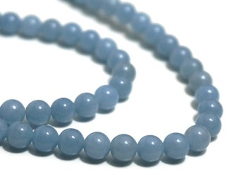 Angelite beads,  6mm round natural light blue gemstone, full & half strands available  (709S)