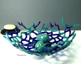 Glass Birds Nest - Boro Sculpture - Nature Art - Blue Glass - Home Decor - Original