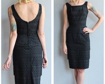 1950s Dress // Darling Eyelet Dress // vintage 50s sheath dress