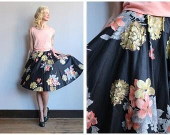 1950s Skirt // Sparkling Bouquet Skirt // vintage 50s skirt