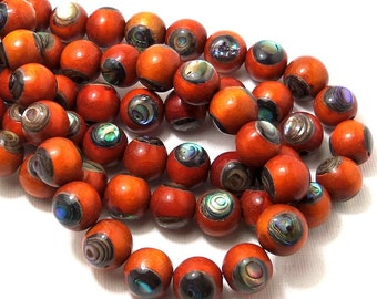 Sibucao Wood with Abalone Shell, 12mm, Round, Natural Wood, Artisan Bead, Smooth, Half Strand, 18pcs - ID 2125