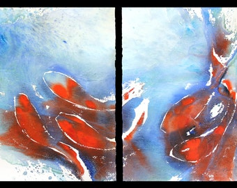 Koi fish cheese cloth diptych, original watercolor