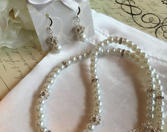Pearl Jewelry Set - Crystal and Pearl Necklace and Earring Set in White or Ivory Pearls - Wedding Jewelry for the Bride or Bridesmaids