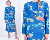 Vintage 90s Koi Fish Print Long Sleeve Silk Maxi Dress w/ Side Slits * Blue Sage Green Coral Yellow * Size Large * FREE SHIPPING