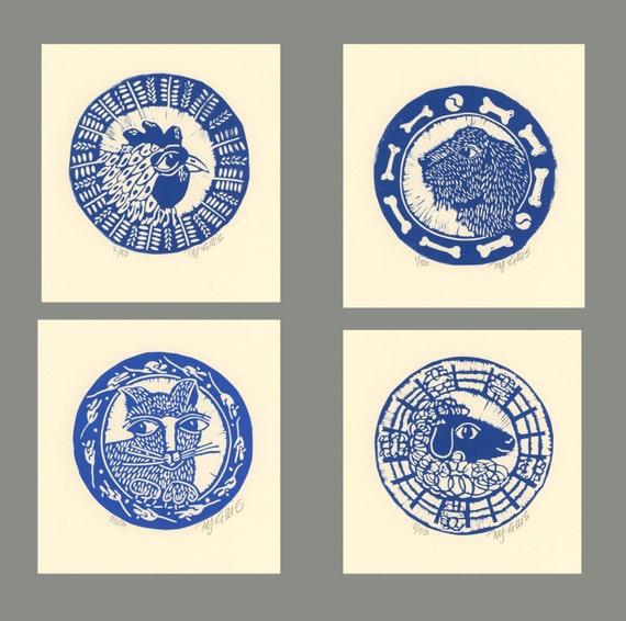 linocuts, set of 4, round, hen, cat, dog, sheep, country, farm, printmaking, navy blue, dark blue, kitchen art, country home, home interior
