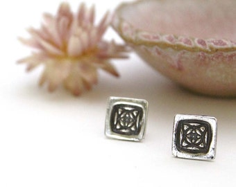 Square Silver Floral Post Earrings