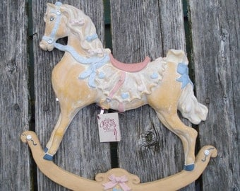Vintage Rocking Horse Wood Resin Hand Painted Nursery Wall Plaque