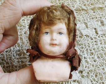 "Antique 4"" German Paper Mache/Papiermache Shoulderhead Doll Part"