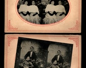 Two Rare 3D Stereo Tintypes! Women in Matching Dresses & Man in Sports Jersey